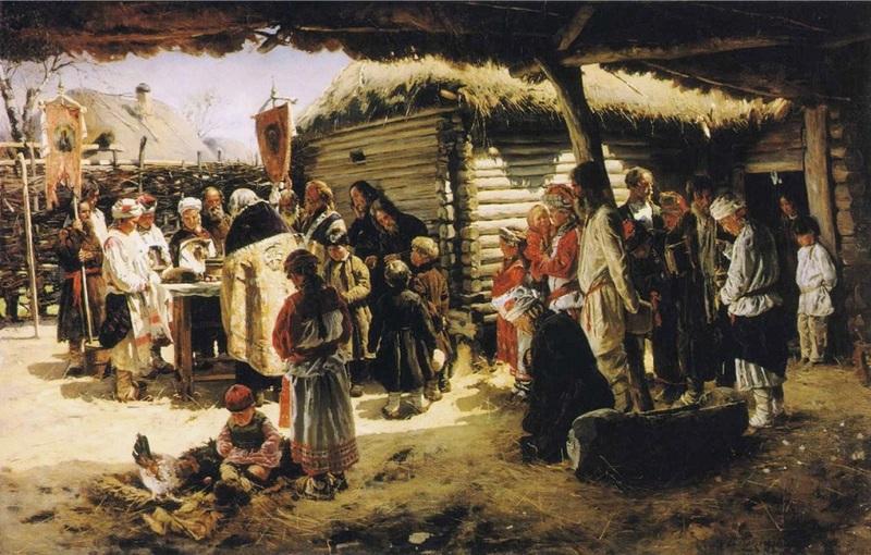 В.Е. Маковский. Молебен на Пасху. 1887-1888