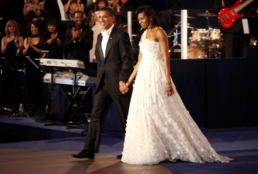 2009 год, Мишель Обама в шифоновом платье Jason Wu. Это был первый президентский срок Барака Обамы,