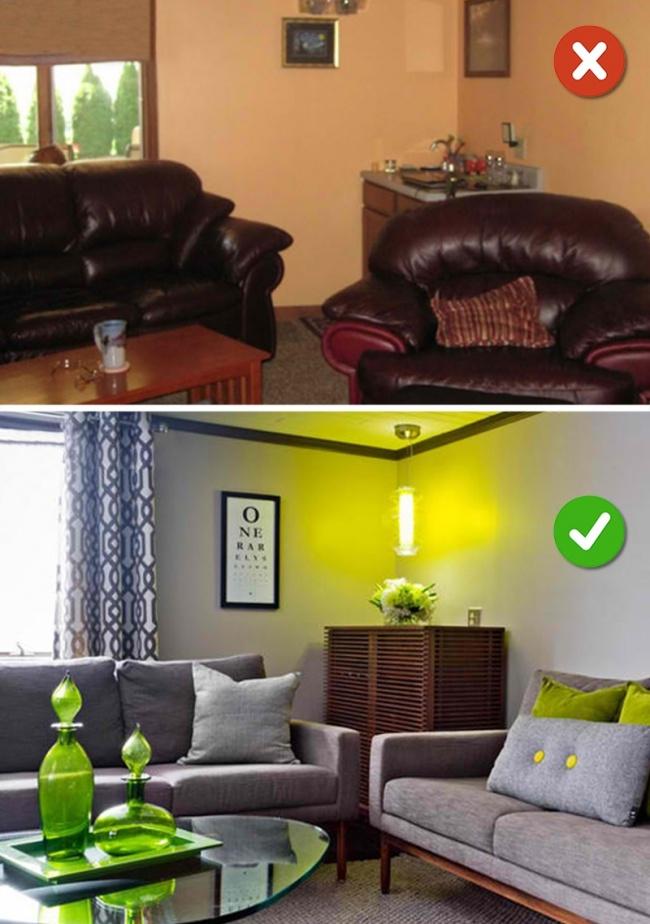 © homedesignlover  Гостиная нуждается вярком акценте. Центром может быть камин, картина, зерк