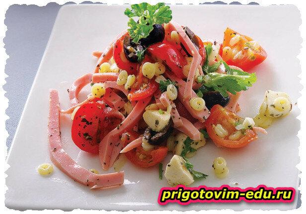 Салат итальянский с макаронами диталини (Итальянская кухня)