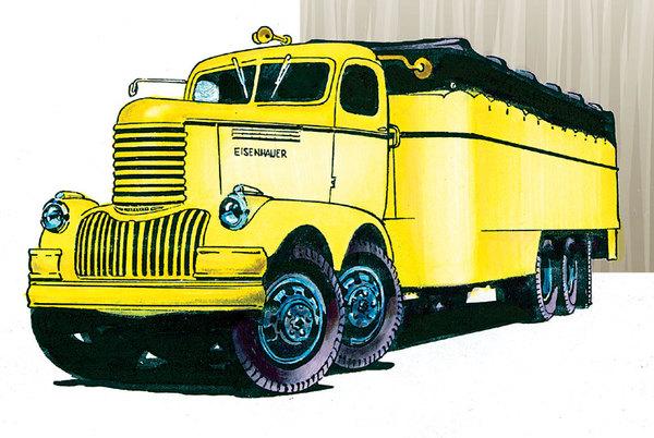 1946 год. Два двигателя, семь карданов, три поворотных оси. Eisenhauer Freighter.
