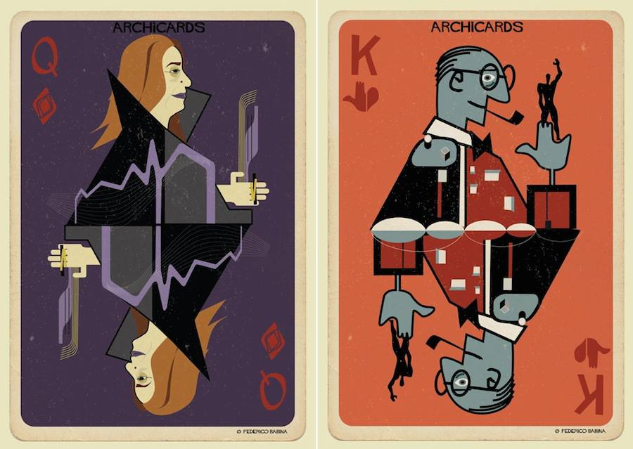 Illustrated Cards of Architects Portraits