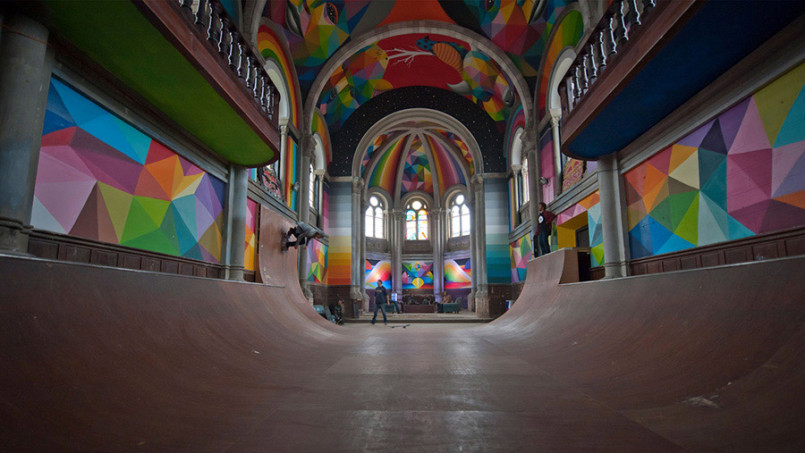 The Skate Church: Murals by Okuda San Miguel
