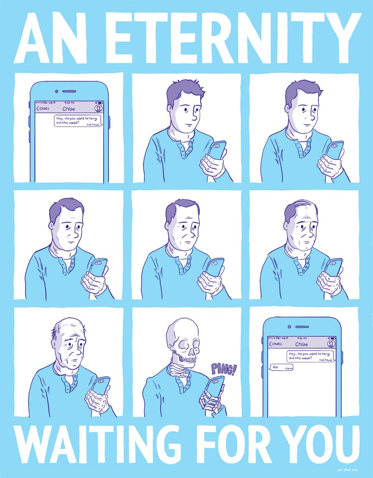 Never Alone - The bad habits of smartphone seen by illustrator Joe Stone