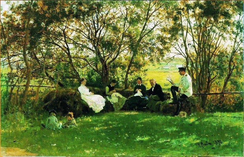 На дерновой скамье, 1876. Илья Репин. leto.jpg