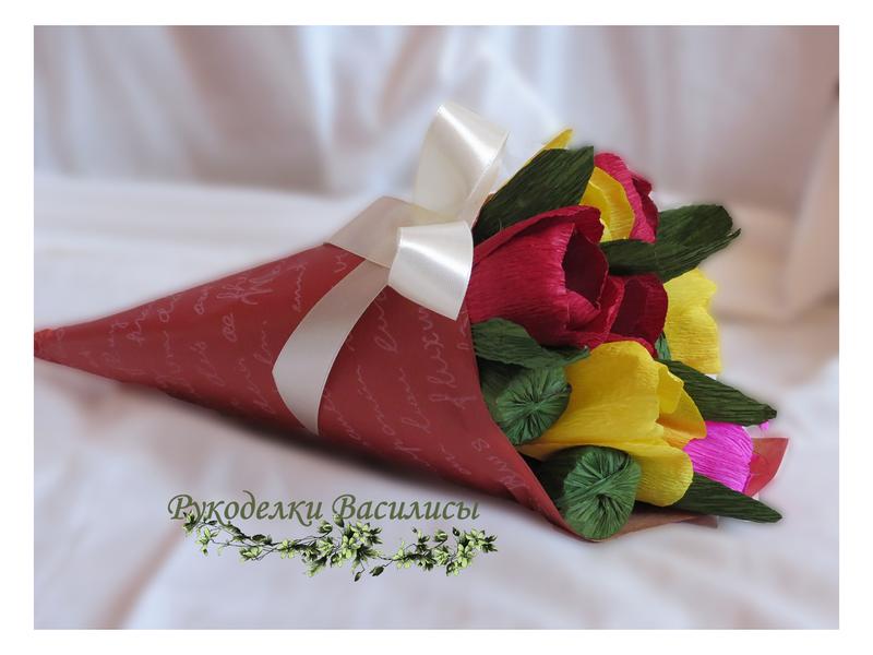 тюльпаны с конфетами, букет из конфет, свит-дизайн, подарки, ручная работа, рукоделки василисы
