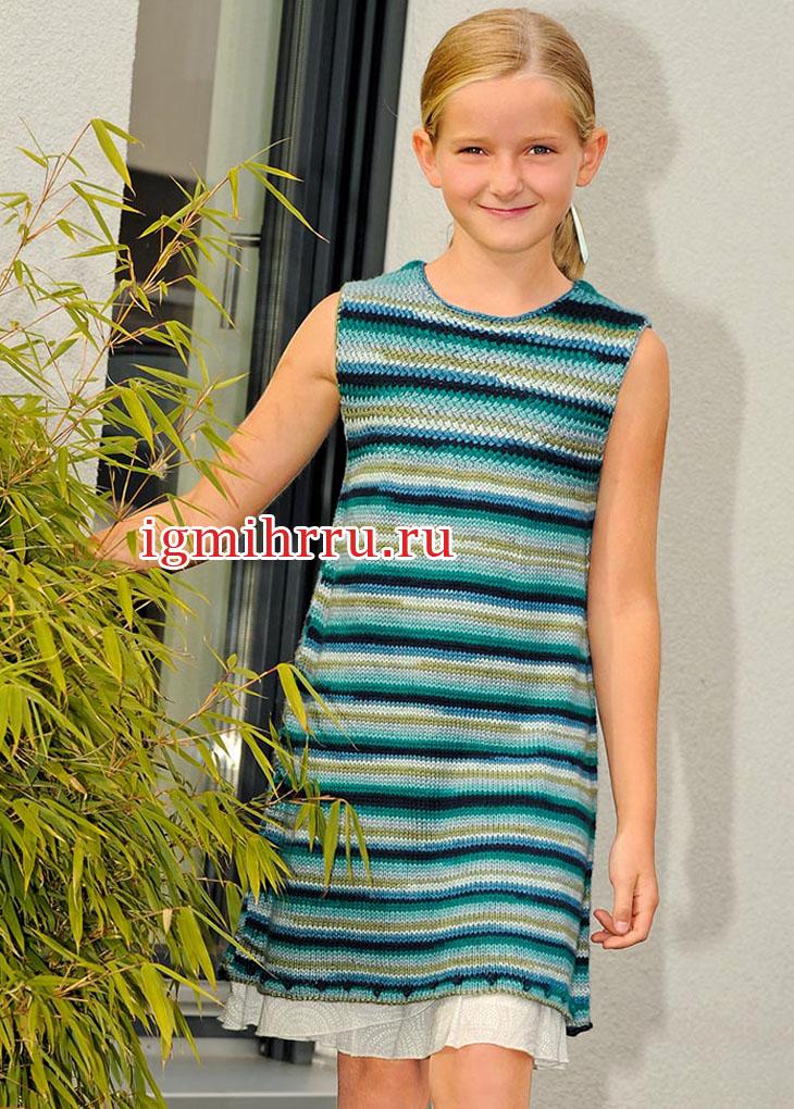 Для девочки 6-12 лет. Шелковое платье в сине-зеленую полоску. Вязание спицами