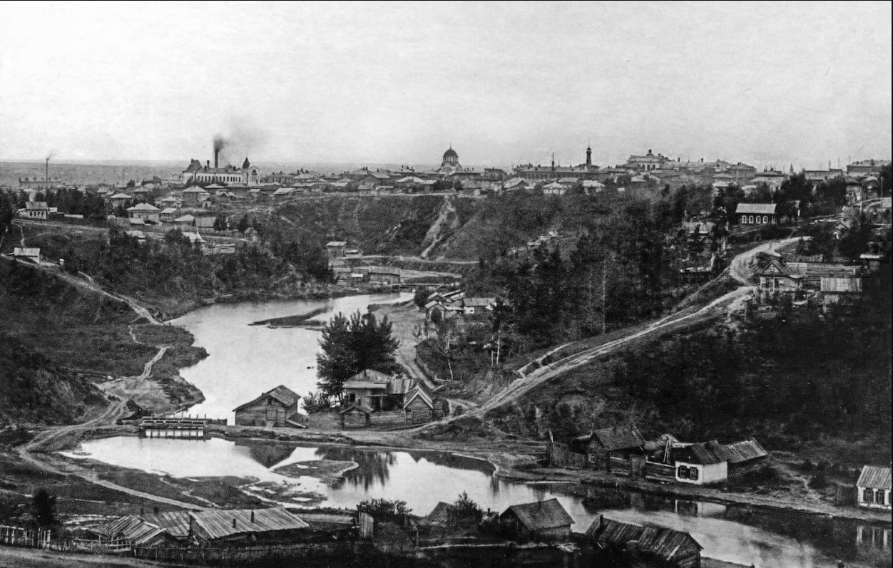 Вид на закаменскую часть города с военного городка 1917