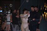 Director Rupert Sanders and Scarlett Johansson on the set of Ghost in the Shell from Paramount Pictures and DreamWorks Pictures in theaters March 31, 2017.