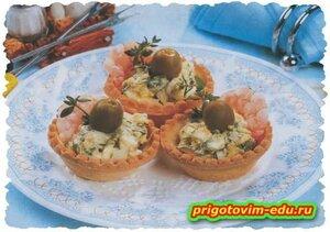 Тарталетки с креветочным салатом