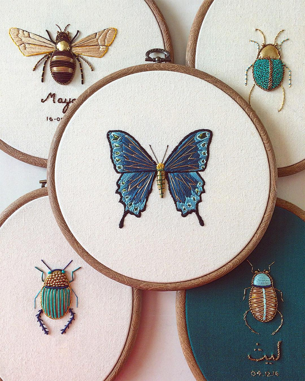 Ornate Insect Embroideries by Humayrah Bint Altaf Incorporate Antique Materials and Metallic Beads