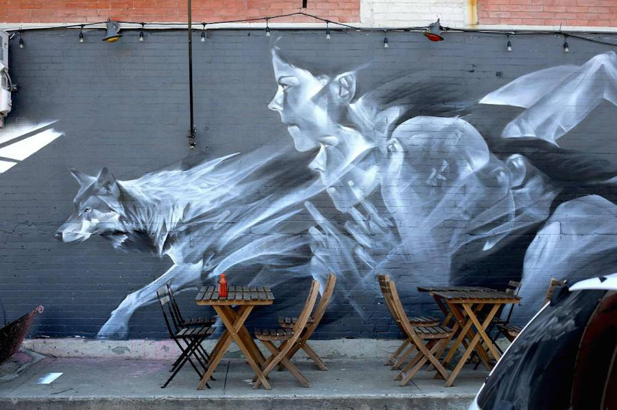 Big Wall Street Art Featuring Ghostly Frescos