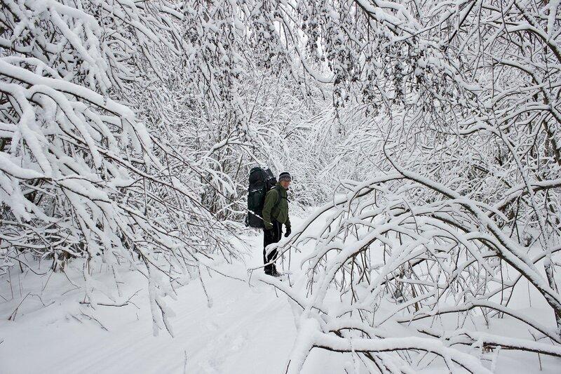 пеший поход под рюкзаком зимой у Вырицы, Сусанино, Семрино