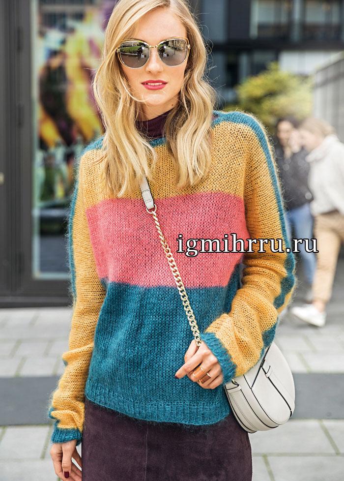 Мохеровый пуловер в широкую полоску. Вязание спицами