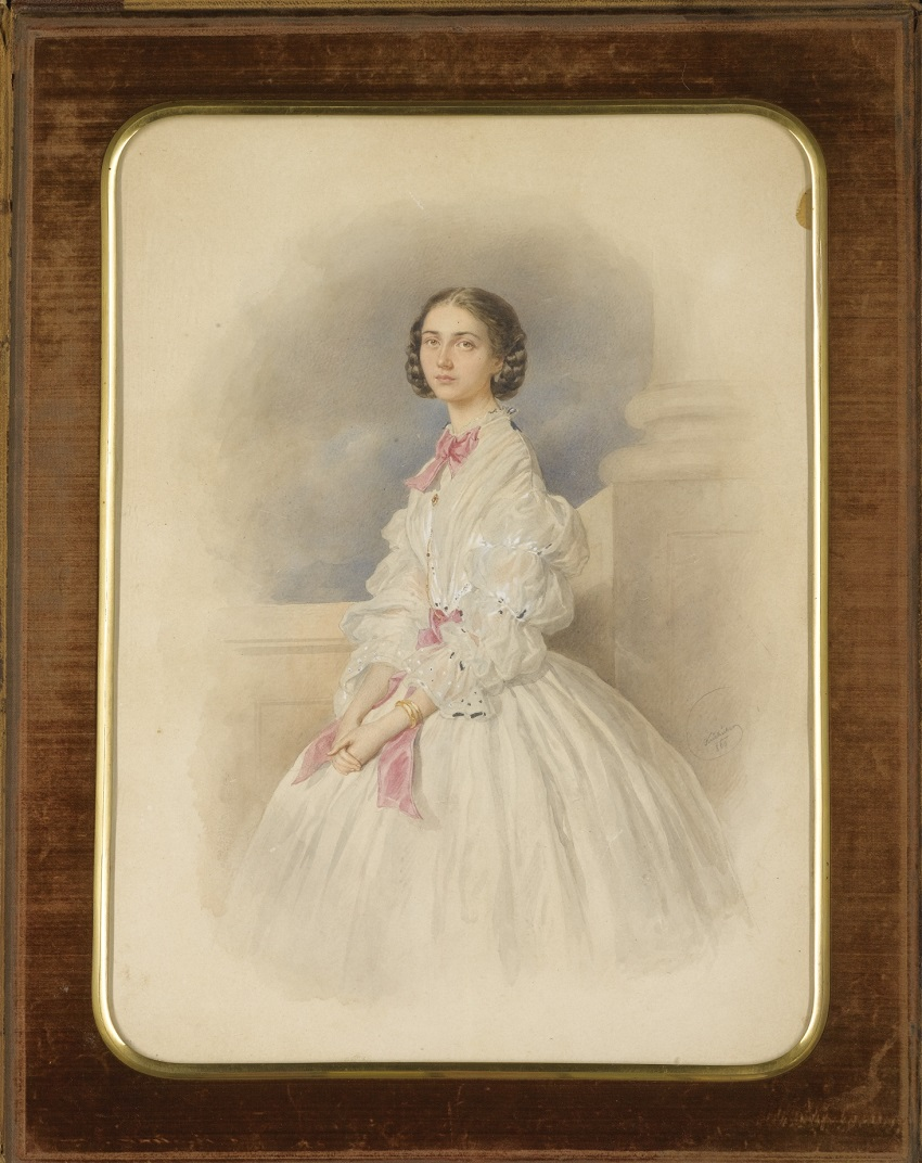 Josef Kriehuber1800 - 1876AUSIPORTRAIT OF A LADY, FRAMED IN A LEATHER FOLIO