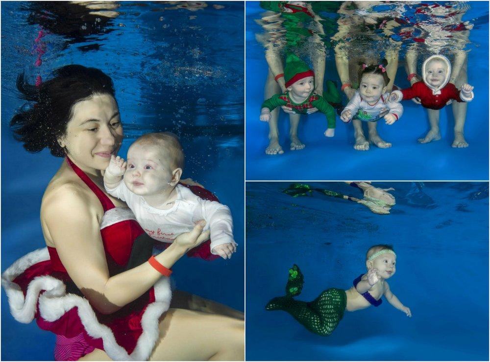 Детишки под водой в Рождественских костюмах