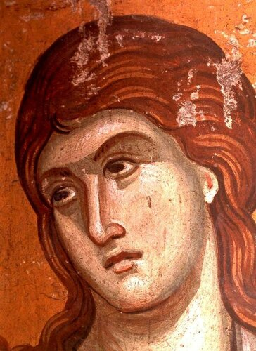 Святой мученик Ермоген Никомидийский. Фреска конца XIII века в монастыре Протат на Афоне. Иконописец Мануил Панселин. Лик.
