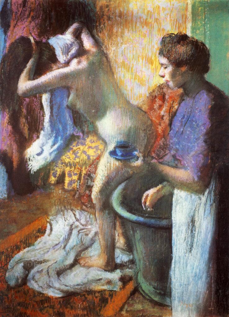 1883 - Le petit déjeuner à la sortie du bain  Pastel  121x92 cm  Londres, Collection particulière.jpg