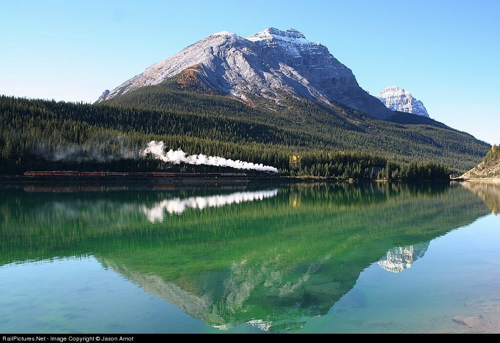 Canadian Pacific 2816, Steam 4-6-4, Lake Wapta, Hector, British Columbia, Canada, Sept 30, 2008.