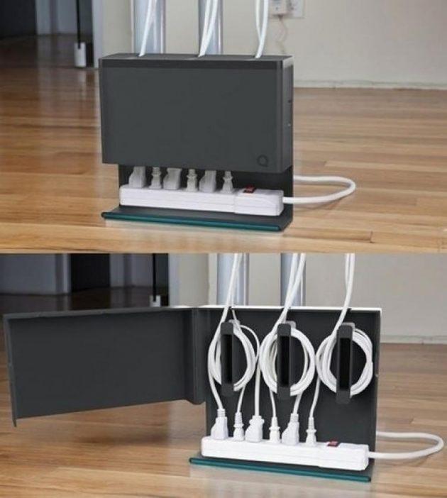 2. Закрепите провода под столешницей   Чтобы закрепить провода и удлинитель под столом, вам