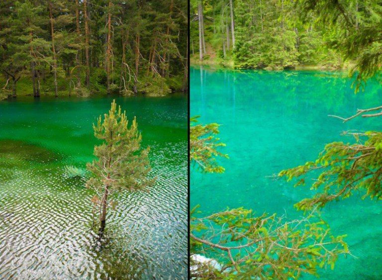 Почему вода в этом озере получается зелёной? Потому что большую часть года это озеро является парком