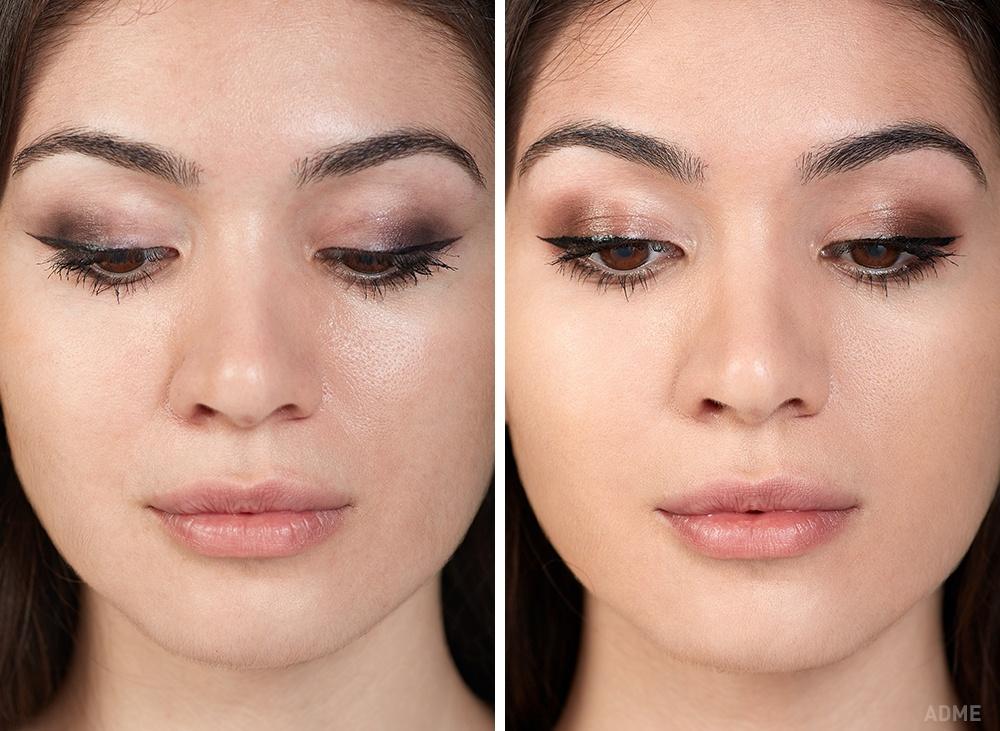 Дешевая косметика (слева): Потекстуре тени довольно плотные. Ложатся хорошо, несобираются инеосы