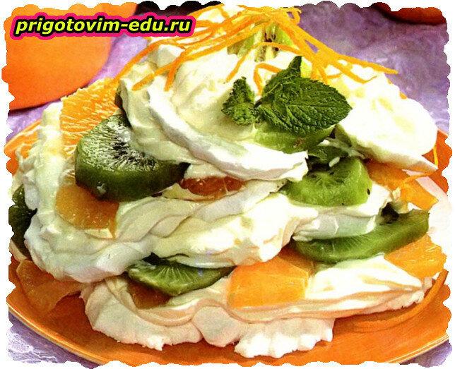 Десерт из зефира с киви