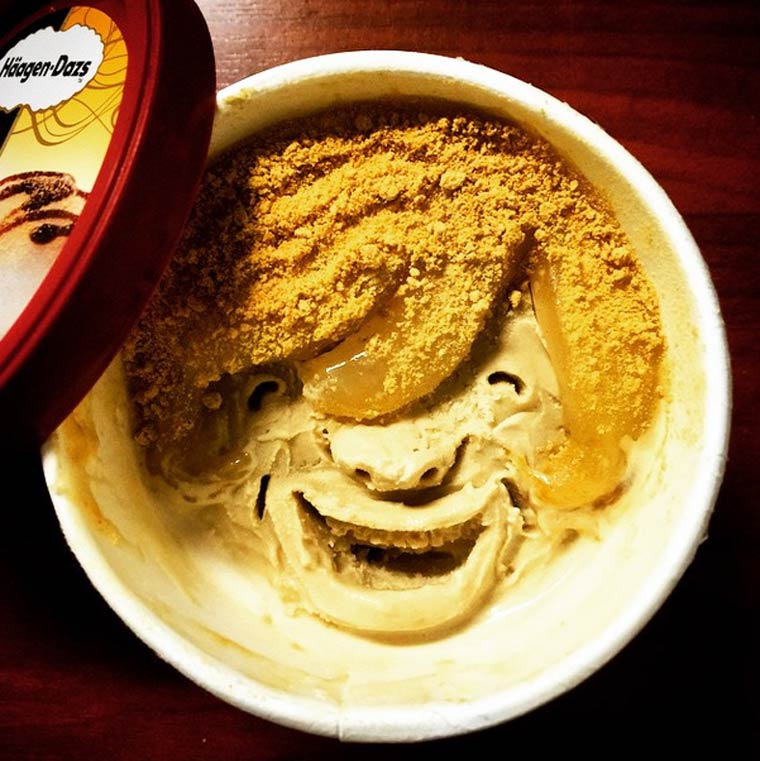 Ice Cream Face - When a Japanese is having fun carving faces in ice cream cups