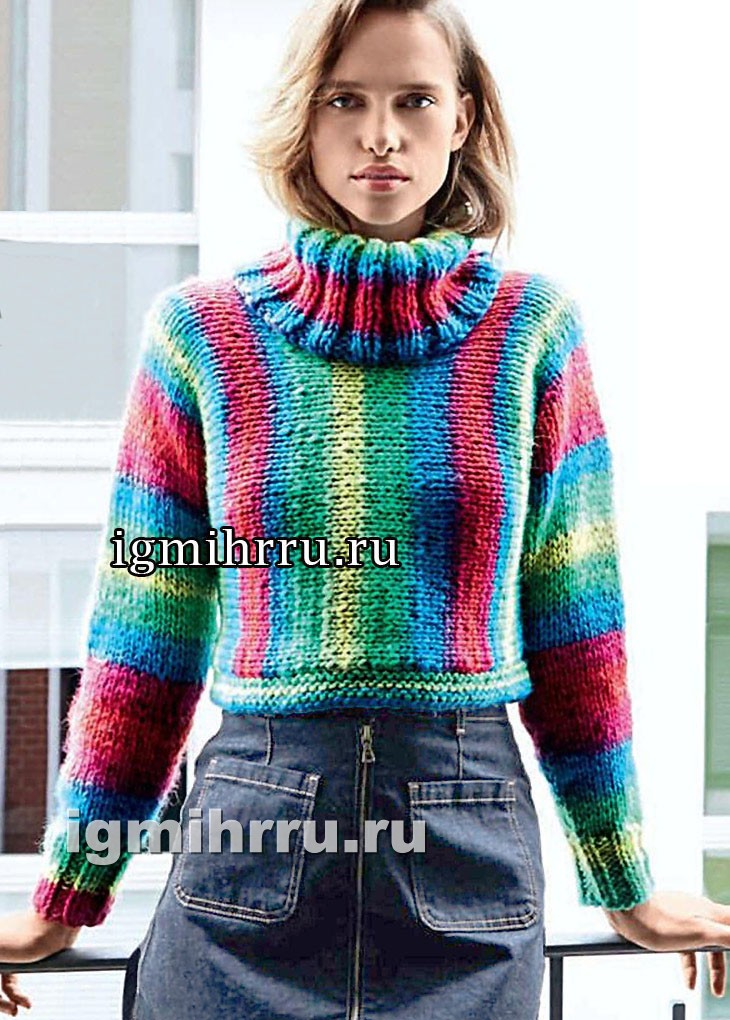 Радужный свитер в вертикальную полоску. Вязание спицами