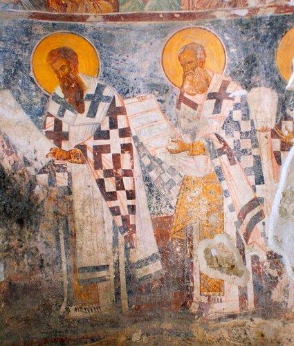 Служба Святых Отец. Грузинская фреска.