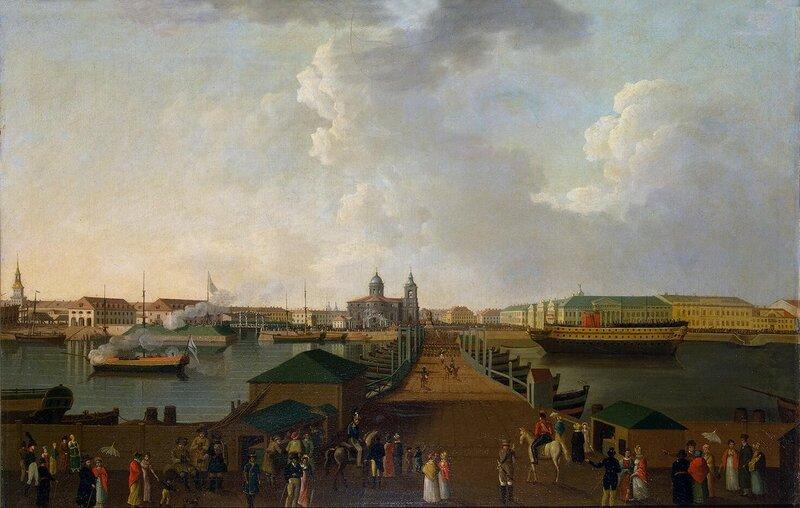 Плашкоутный мост через Большую Неву к Сенатской площади