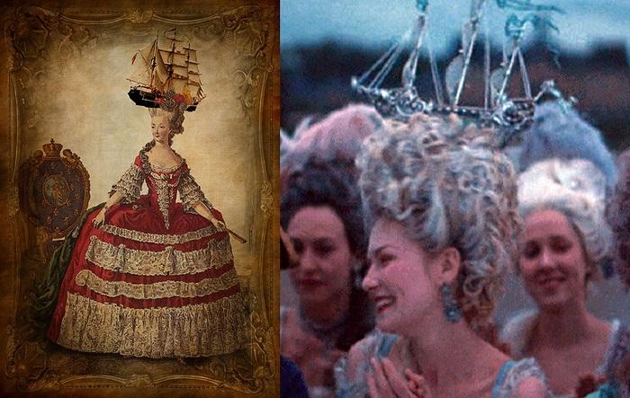 Королева Франции Мария-Антуанетта украшала прическу кораблем.