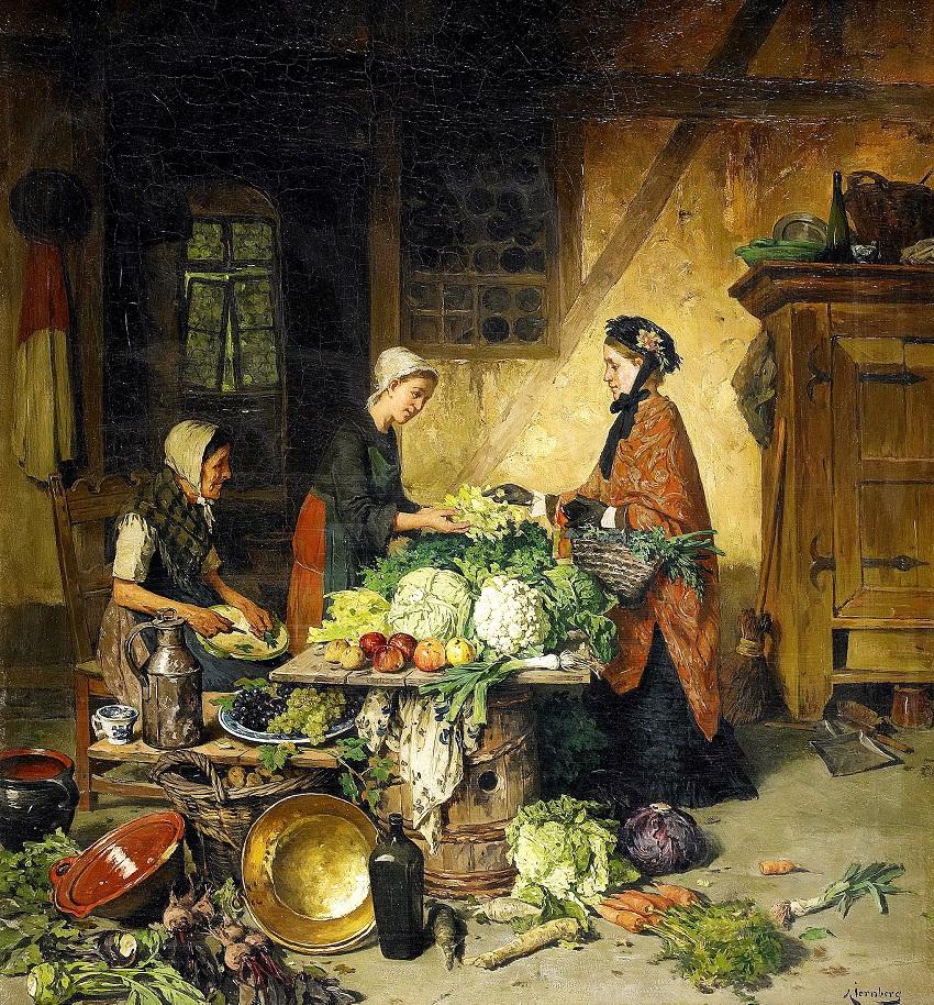 AUGUST JERNBERG (1826-1896) - Interior med kvinnor vid koksbord.jpg