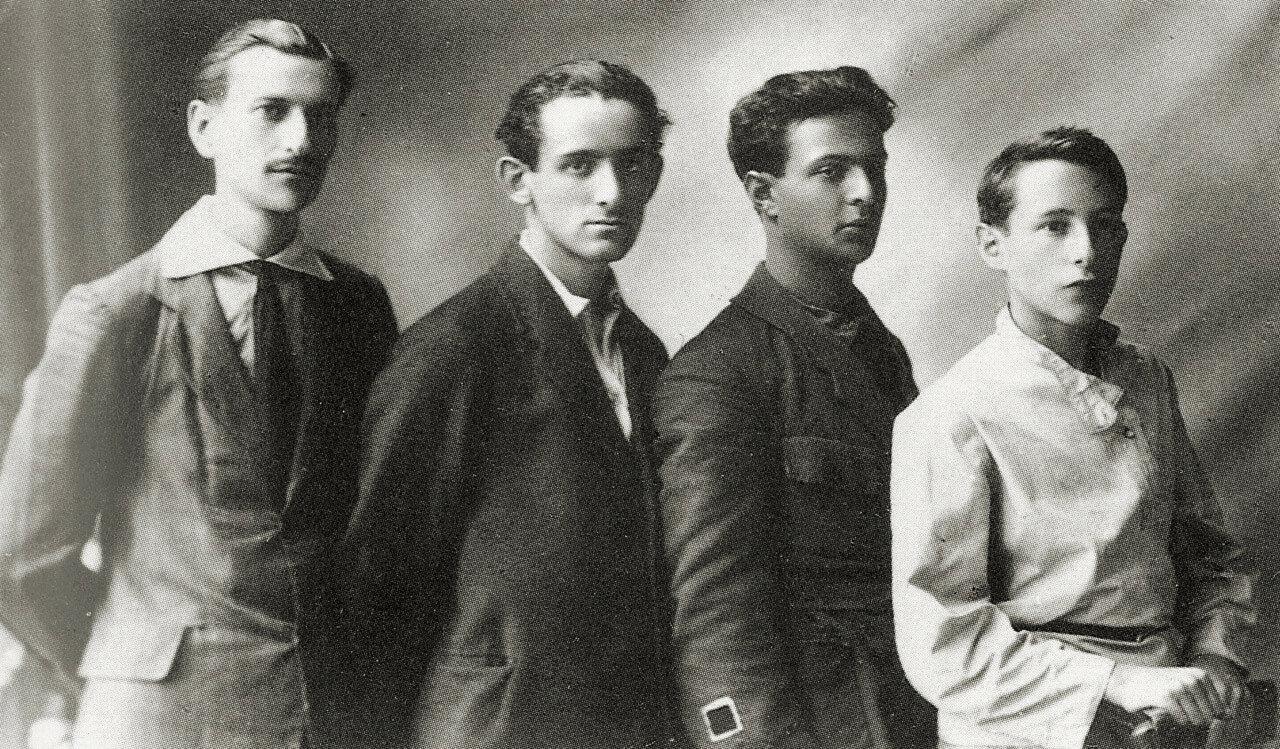 1922. Иван Червинко, Лазарь Хидекель, Илья Чашник, Лев Юдин. Витебск. Май