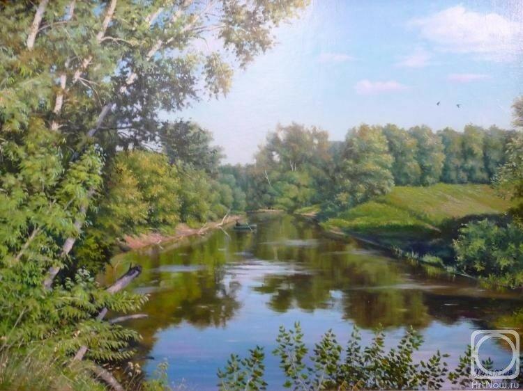 Над рекою широкою, за зелёной осокою. Художник Хуззятов Альберт Анфисович