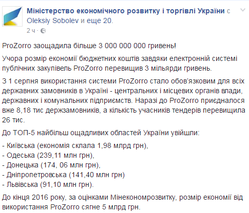 Система ProZorro сэкономила Украине уже более 3 млрд гривен,— МЭРТ