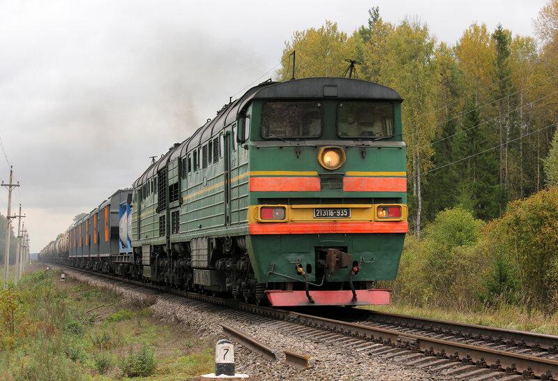 2ТЭ116-935 на перегоне Подсосенка - Земцы