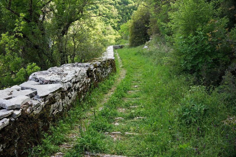старинная мощеная дорога ступени Вица (skala Vitsa, Vitsa stairs), Загория, Греция