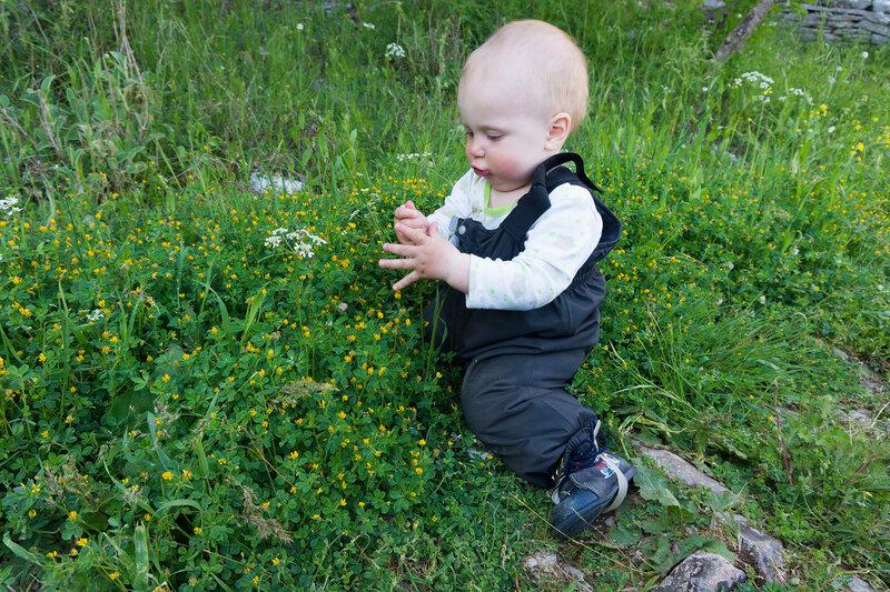 ребенок играет в траве