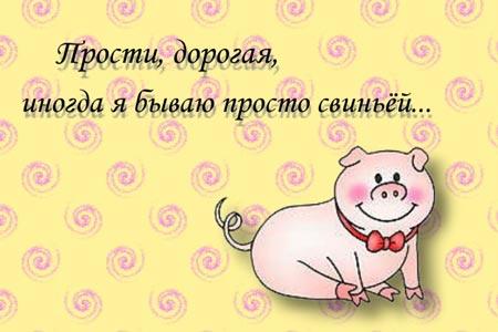 Прости, дорогая, иногда я бываю просто свиньей открытки фото рисунки картинки поздравления