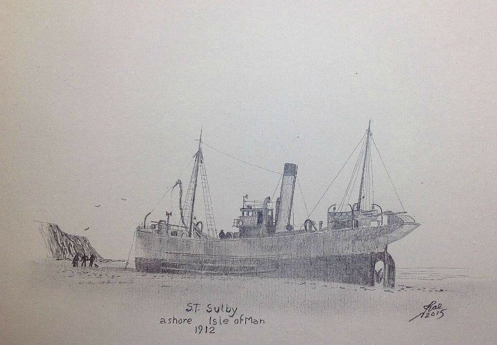 Small pencil sketch of a Trawler aground.