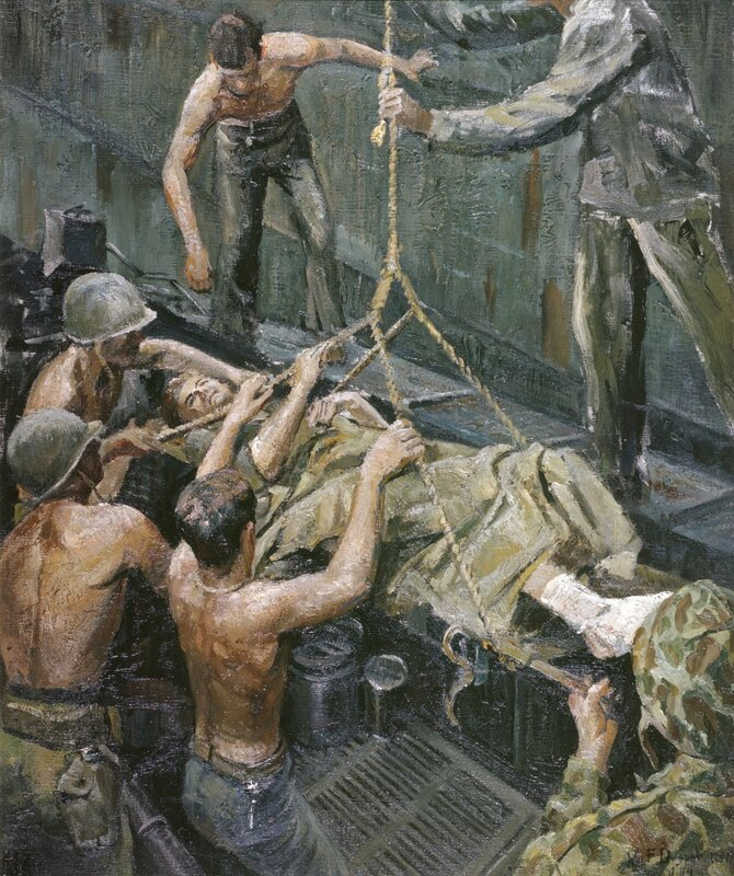 William F. Draper - A Warrior Homeward Bound (1944) This wounded Marine, a casualty of the assault wave on the beaches of Guam, is tenderly hoisted by his comrades from an LVT to an LST where he will receive the best of care from Navy doctors.