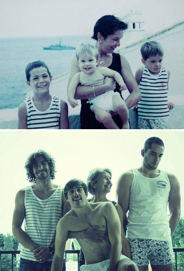 «В честь дня рождения папы мы попытались воспроизвести ту же фотографию 20 лет спустя — правда, мы с
