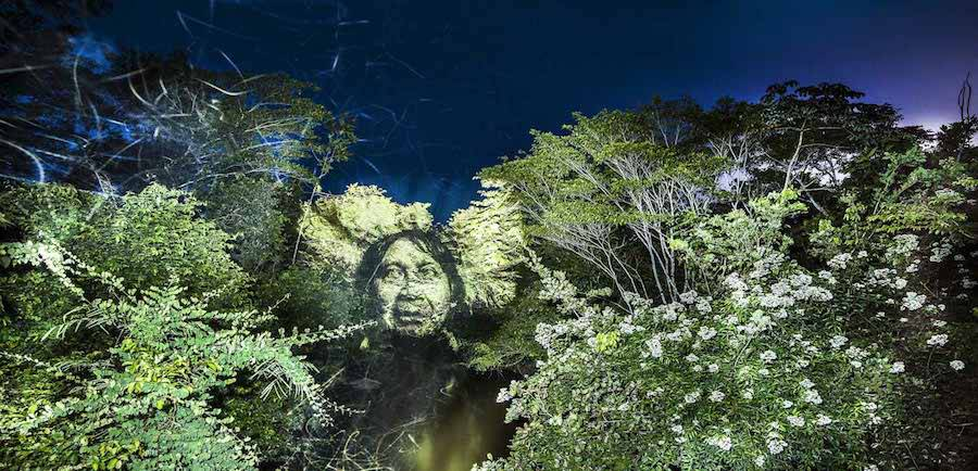 Stunning Video Projections of Indians in the Amazonian Forest