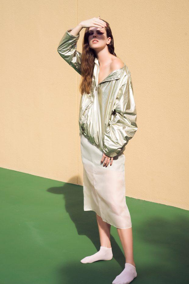 jacket and skirt COS Socks model's own