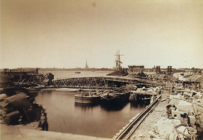 Гофферт И.К. Строительство Литейного моста. Выборгский устой и бык № 4 1 июля 1878 отпечаток на альбуминовой бумаге