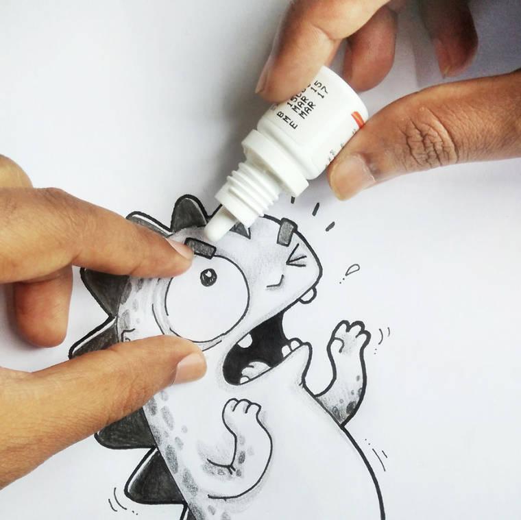Ilustrador desenha seu personagem, um dinossauro, em situacoes divertidas