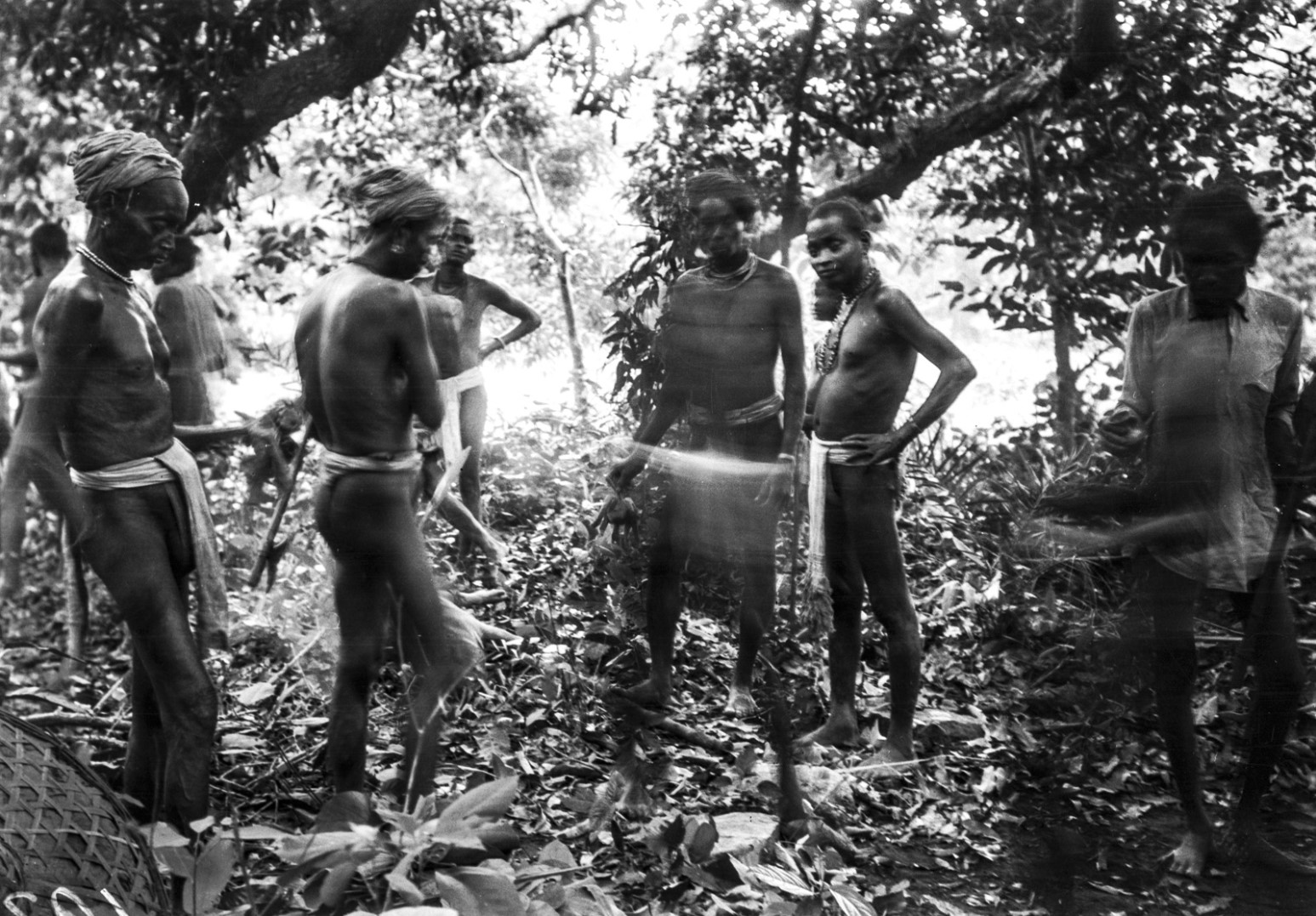 752. Орисса. Группа мужчин во время церемонии жертвоприношения