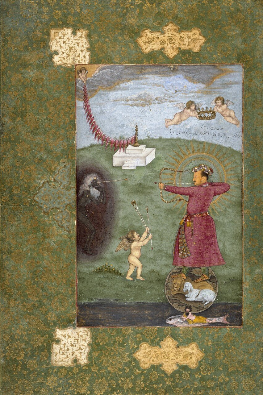 11_Abu'l_Hasan__Jahangir_Standing_on_a_Globe_Shooting_Poverty__ca__1625,_Los_Angeles_County_Museum_of_Art.jpg