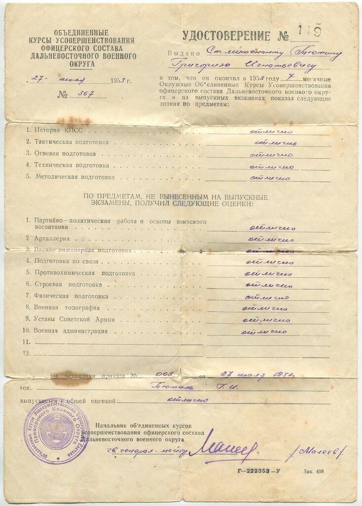 Удостоверение об окончании Курсов Усовершенствования офицерского состава